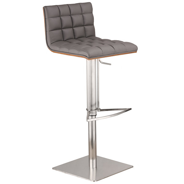 Armen Living Oslo Metal Barstool in Faux Leather and Brushed Stainless Steel Finish with Walnut Back