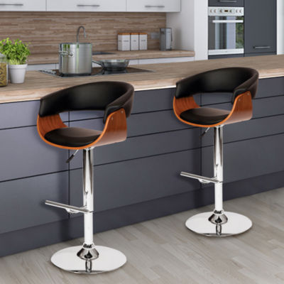 Armen Living Paris Swivel Barstool in Faux Leather and Chrome Finish with Walnut Veneer