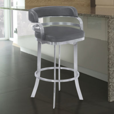 Armen Living Prinz Metal Swivel Barstool in Faux Leather with Brushed Stainless Steel Finish and Gray Walnut Back