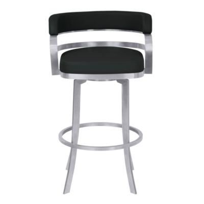 Armen Living Prinz Metal Swivel Counter Height Barstool in Faux Leather with Brushed Stainless Steel Finish and Gray Walnut Back