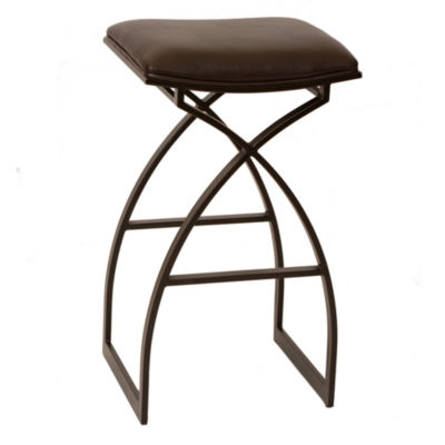 Armen Living Harper Modern Metal Counter Height Barstool in Fabric and Auburn Bay Finish
