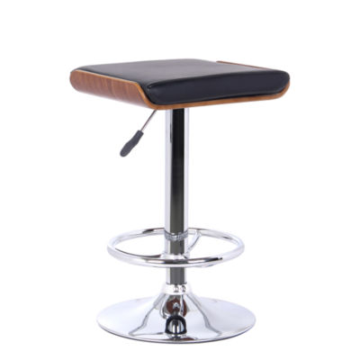 Armen Living Java Barstool in Faux Leather and Chrome Finish with Walnut Wood Back