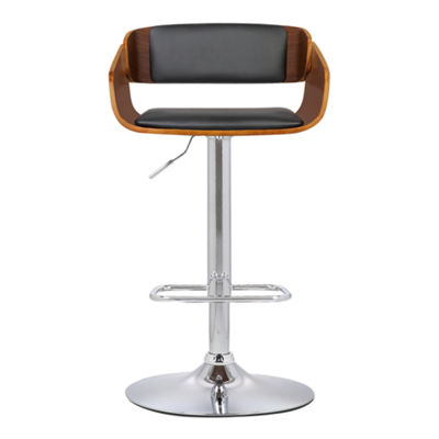 Armen Living Jenny Mid-Century Adjustable Swivel Barstool in Faux Leather with Chrome Finish and Walnut Wood