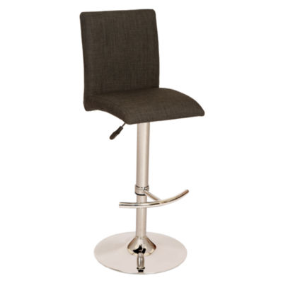 Armen Living La Jolla Adjustable Swivel Barstool in Fabric and Chrome Finish
