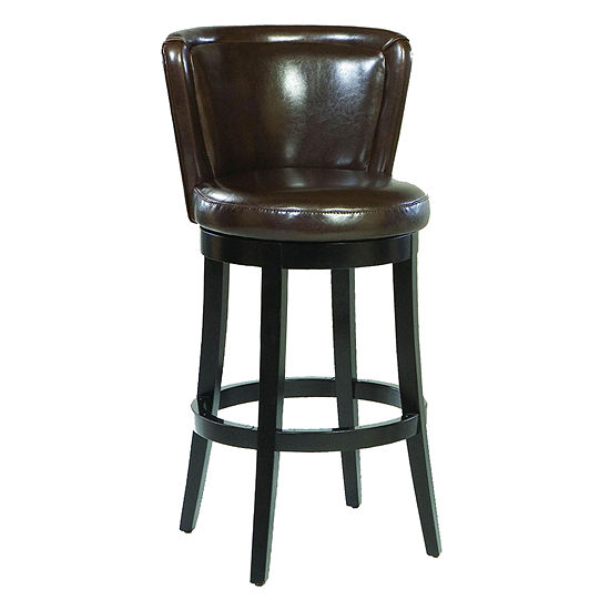Armen Living Lisbon Swivel Counter Height Barstool In Bonded Leather