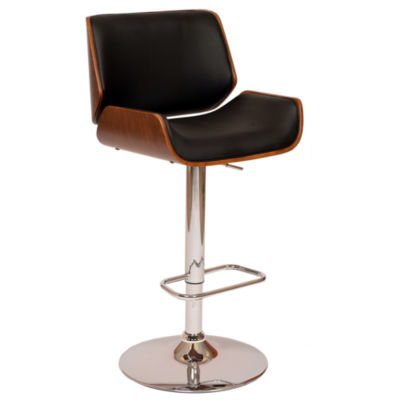 Armen Living London Swivel Barstool in Faux Leather and Chrome Finish with Walnut Veneer
