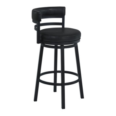 Armen Living Madrid Metal Swivel Counter Height Barstool in Faux Leather and Black Finish