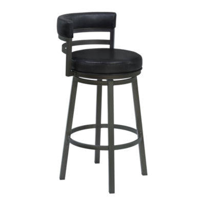 Armen Living Madrid Metal Swivel Barstool in Faux Leather and Mineral Finish