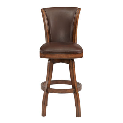 Armen Living Raleigh Swivel Wood Counter Height Barstool in Faux Leather and Chestnut Finish