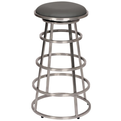Armen Living Ringo Backless Barstool in Faux Leather and Brushed Stainless Steel Finish