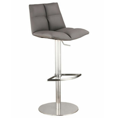 Armen Living Roma Adjustable Metal Barstool in Faux Leather and Brushed Stainless Steel Finish