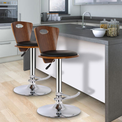 Armen Living Seattle Barstool in Faux Leather and Chrome Finish with Walnut Back