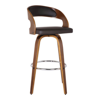 Armen Living Shelly Barstool in Faux Leather and Walnut Wood Finish