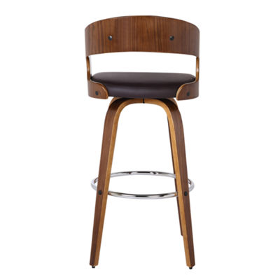 Armen Living Shelly Counter Height Barstool in Faux Leather and Walnut Wood Finish