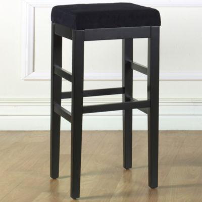Armen Living Sonata Stationary Barstool in Microfiber with Black Legs
