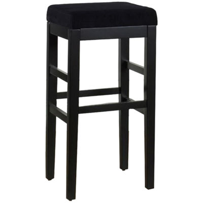 Armen Living Sonata Stationary Counter Height Barstool in Microfiber with Black Legs