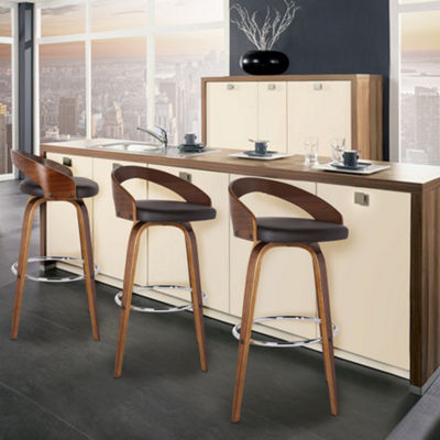 Armen Living Sonia Barstool in Faux Leather and Walnut Wood Finish