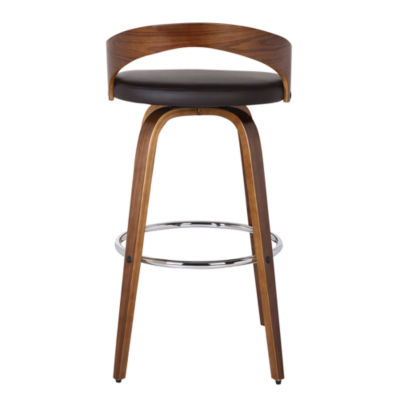 Armen Living Sonia Counter Height Barstool in Faux Leather and Walnut Wood Finish