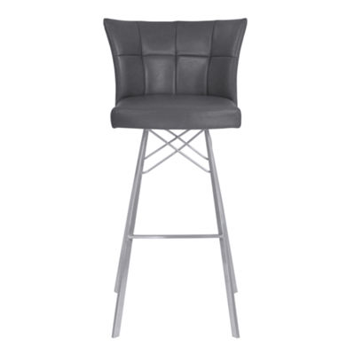 Armen Living Spago Metal Barstool in Faux Leather with Brushed Stainless Steel Finish