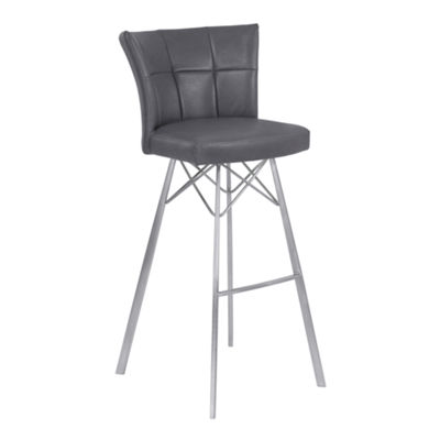Armen Living Spago Metal Counter Height Barstool in Faux Leather with Brushed Stainless Steel Finish