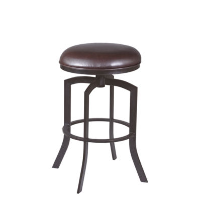 Armen Living Studio Counter Height Barstool in Faux Leather and Auburn Bay Finish