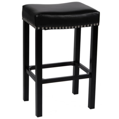 Armen Living Tudor Backless Stationary Barstool in Bonded Leather with Nailhead Accents