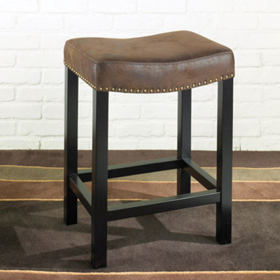 Armen Living Tudor Backless Stationary Barstool in Fabric with Nailhead Accents