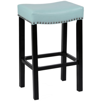 Armen Living Tudor Backless Stationary Counter Height Barstool in Bonded Leather with Nailhead Accents