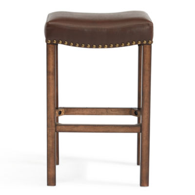 Armen Living Tudor Wood Backless Counter Height Barstool in Faux Leather and Chestnut Finish
