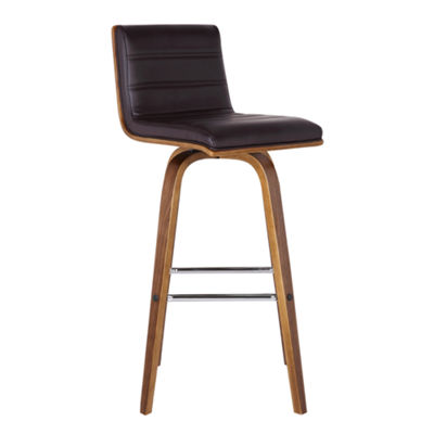Armen Living Vienna Barstool in Faux Leather and Walnut Wood Finish