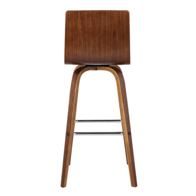 Armen Living Vienna Counter Height Barstool in Faux Leather and Walnut Wood Finish