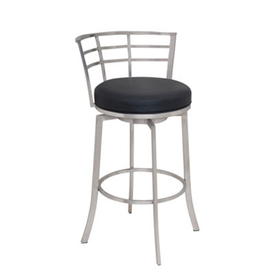 Armen Living Viper Swivel Counter Height Barstool in Faux Leather and Brushed Stainless Steel Finish
