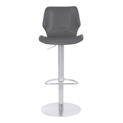 Armen Living Zuma Adjustable Metal Barstool in Faux Leather with Brushed Stainless Steel Finish