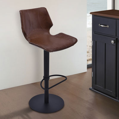 Armen Living Zuma Adjustable Swivel Metal Barstool in Faux Leather and Black Metal Finish