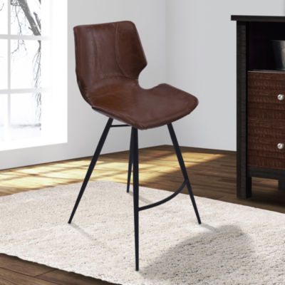 Armen Living Zurich Metal Barstool in Faux Leather and Black Metal Finish