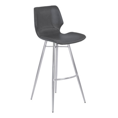 Armen Living Zurich Metal Barstool in Faux Leather with Brushed Stainless Steel Finish
