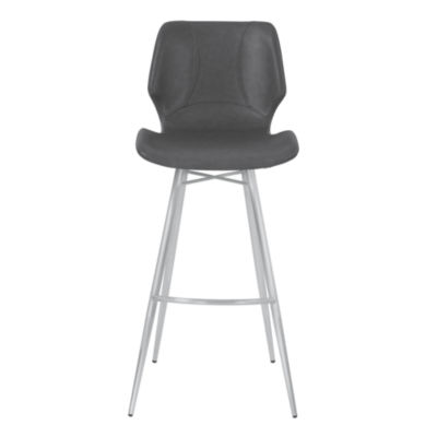 Armen Living Zurich Metal Counter Height Barstool in Faux Leather with Brushed Stainless Steel Finish