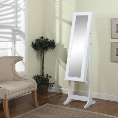 Tenbury Wells 63-inch Floor-Standing Mirror and Jewelry Armoire with LED Light