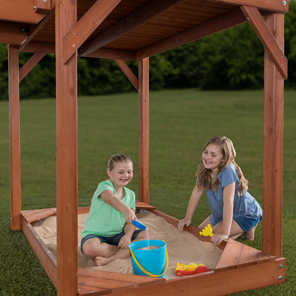 Creative Cedar Designs Sequoia Wooden Playset w/ Double Towers & Slides