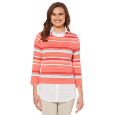Rafaella Weekend Collection 3/4 Sleeve Collar Neck Layered Sweaters
