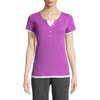 St. John's Bay Active-Womens Y Neck Short Sleeve T-Shirt