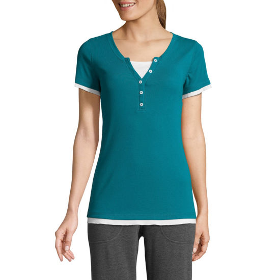 St. John's Bay Active Short Sleeve Y Neck T-Shirt-Womens