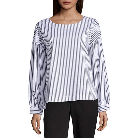 Worthington Womens Long Sleeve Modern Fit Button-Front Shirt