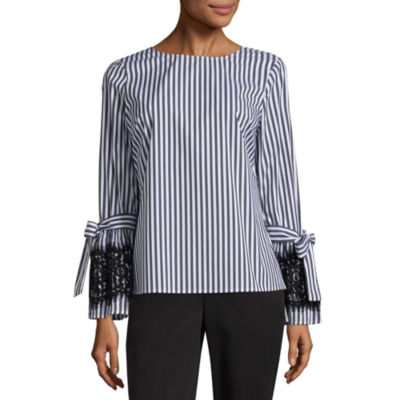 Worthington Long Sleeve Crew Neck Woven Stripe Blouse