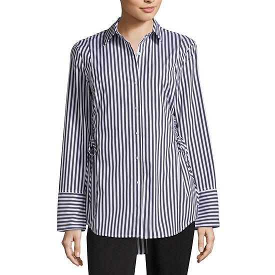 Worthington Long Sleeve Corset Shirt
