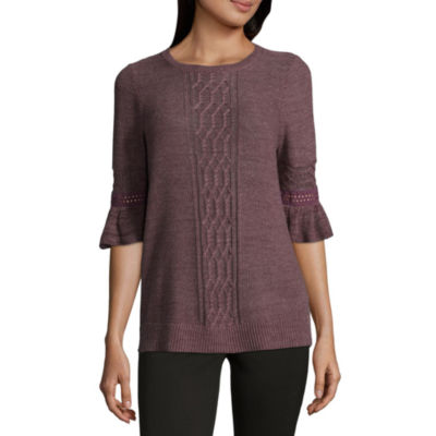 89th & Madison Cable Front Pullover Sweater