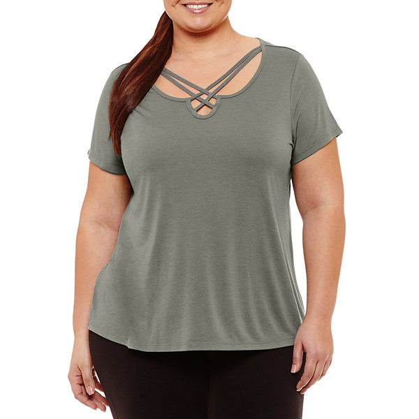 Xersion Short Sleeve Strappy Neck T-Shirt-Womens Plus