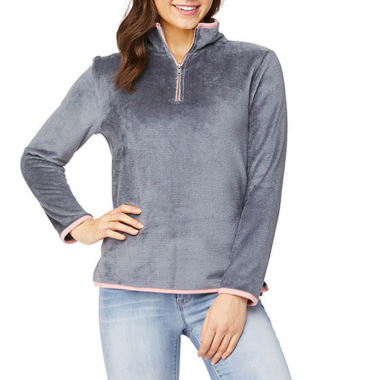 Wallflower Womens Mock Neck Long Sleeve Quarter-Zip Pullover Juniors