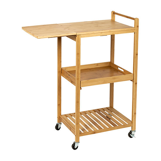 Honey-Can-Do Bamboo Kitchen Cart with Wheels