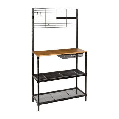 Honey-Can-Do Bakers Rack with Cutting Board and Hanging Storage